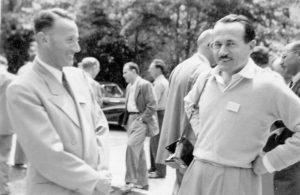 Cold Spring Harbor Symposium on Quantitative Biology, Biological Applications of Tracer Elements, 8-16 giugno 1948 Da sinistra a destra: K. Maramorosch, A. Buzzati-Traverso. (per gentile concessione: Cold Spring Harbor Laboratory Archives, New York, Long Island)