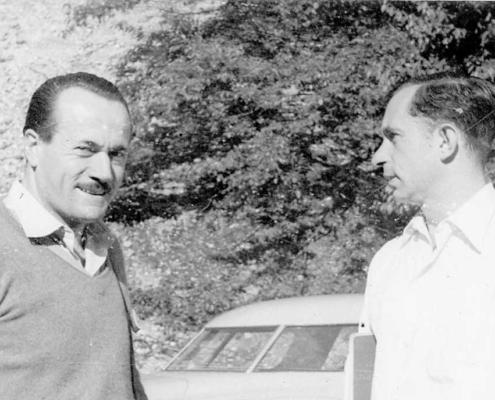 Cold Spring Harbor Symposium on Quantitative Biology, Genes and Mutations, 7-15 giugno 1951 Da sinistra a destra: A. Buzzati-Traverso, A. Novick. (per gentile concessione: Cold Spring Harbor Laboratory Archives, New York, Long Island)